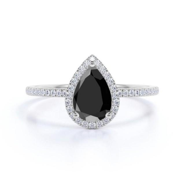 wedding photo - Gorgeous 2 Ct Black Pear Diamond Engagement Ring In 14k White Gold