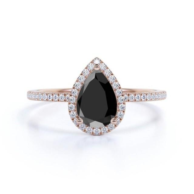 wedding photo - 14k Rose Gold Pear Cut Ring With Black Diamond Halo