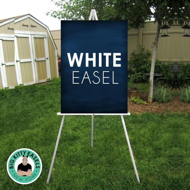 """White Easel . Wedding sign solid wood floor stand . Display lightweight Foam Board, Canvas, Wood, Acrylic signs up to 24"""" x 36"""" and 8lbs"""