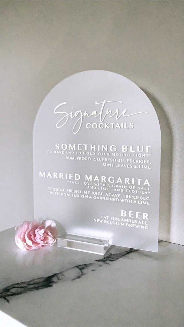 Custom Bar Menu Wedding Sign - 8x10 Dome - Bar Sign - Signature Cocktails - Engraved Acrylic - Wedding Decor