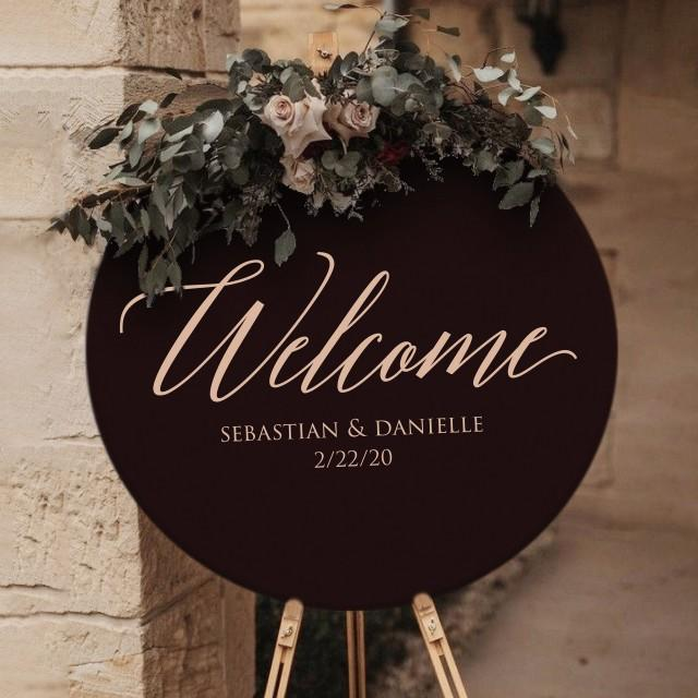 Round Wedding Welcome Sign by Rawkrft - Rustic Wood Wedding Sign - Custom Wedding Sign - Bridal Shower Sign - UV Stained And Fade Resistant
