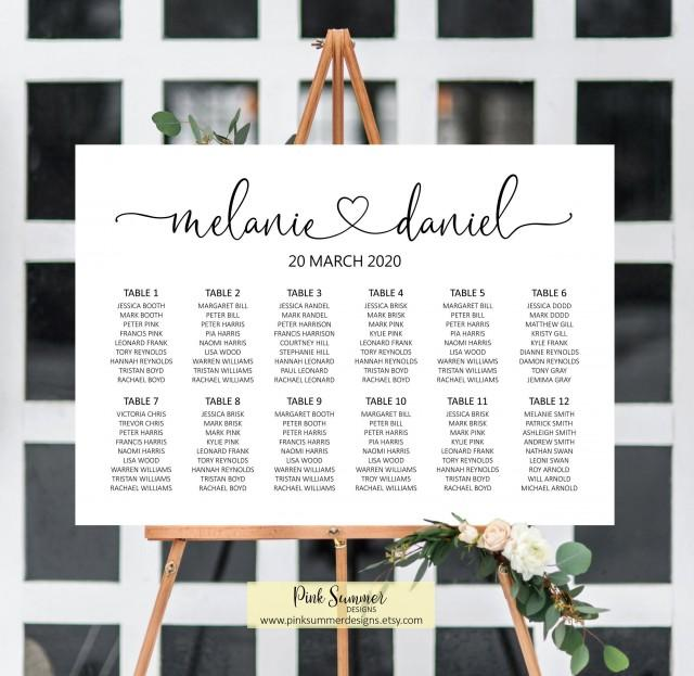 Wedding seating chart printable, seating chart wedding seating plan wedding signs heart, wedding decorations, decor, guest list sign, W46