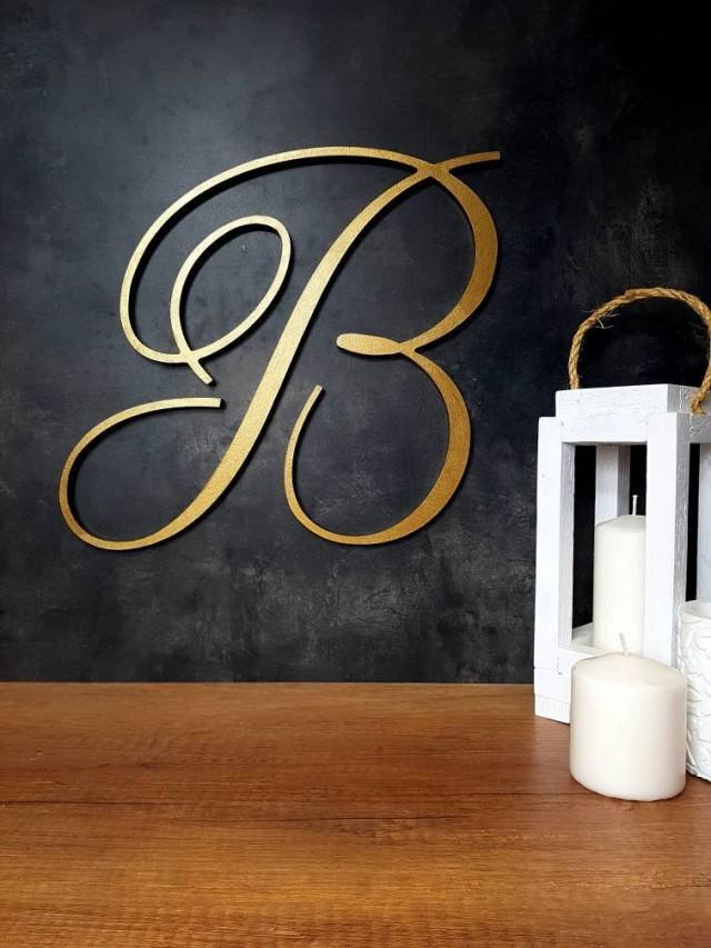 extra large wood letters wedding backdrop, decorative calligraphy gold wooden monogram wall hanging sign, custom cursive alphabet decor B