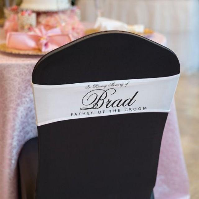 Wedding Memorial Sign Sash Satin Lycra Chair Band in Loving Memory Of Reserved Ceremony Chair Decor