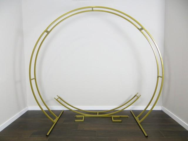2 in 1 Passable and Сircle Wedding arch Wedding double Round arch Ceremony Wedding Arch decor Gold colour metal arch Outdoor Wedding Arch