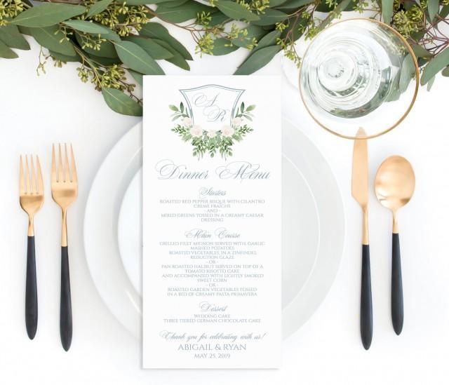 Printable Wedding Menu Template, Dusty Blue and Greenery Monogram Editable Menu, Classic Monogram Crest Wedding Menu, Botanical Wedding Menu