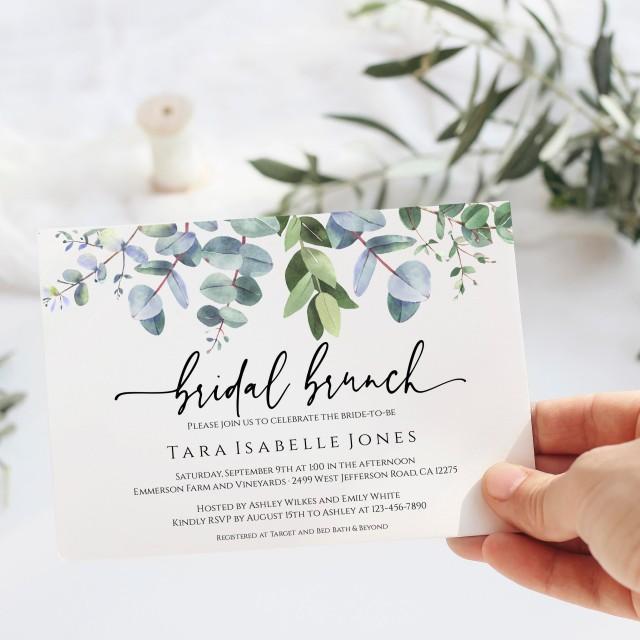 Eucalyptus Bridal Brunch Invitation, Instant Download, Printable Bridal Brunch Invite, Editable Landscape Invitation Greenery, Templett, C40