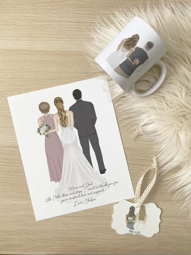 Next Day Parents of the Bride Print, Wedding Drawing, Personalized Custom Parents of the Bride Gift, Wedding Thank You