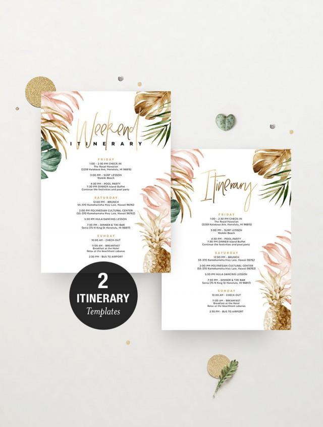 Bachelorette Itinerary Template Instant Download, Hen Party Details, Birthday, Wedding, Tropical Palm Leaf, Pineapple Gold, Editable TROP06