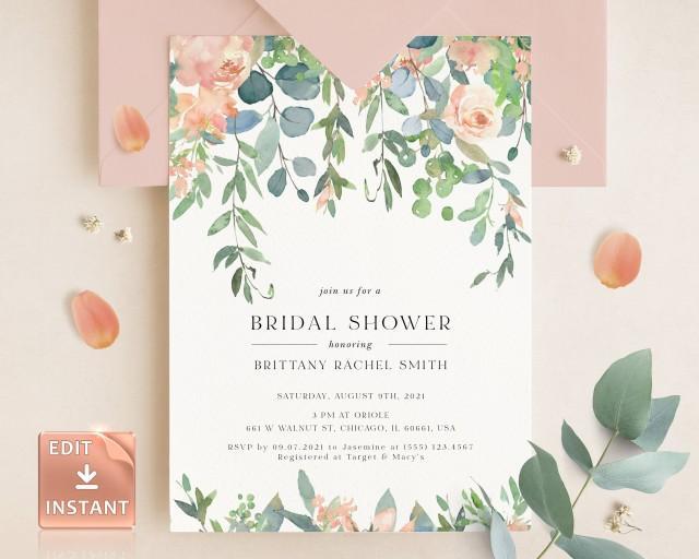 TIFF - Bridal Shower Invitation, Bridal Shower Invitation Template, Printable Wedding Shower Invite, Lush Garden Bridal Shower, Blush Shower