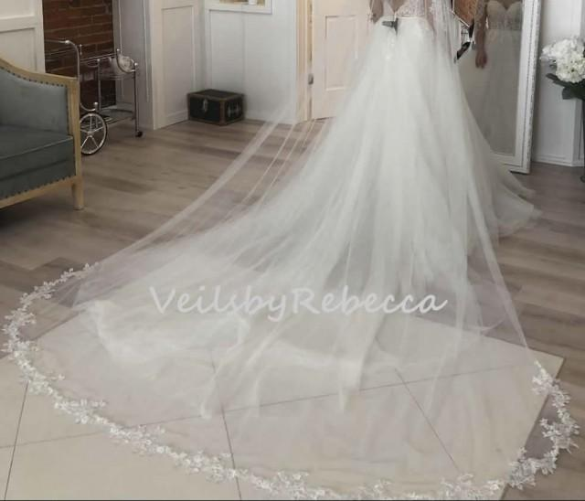1 tier floral lace bottom cathedral veil ,embroidered lace cathedral veil,soft tulle floral lace cathedral wedding veil V903