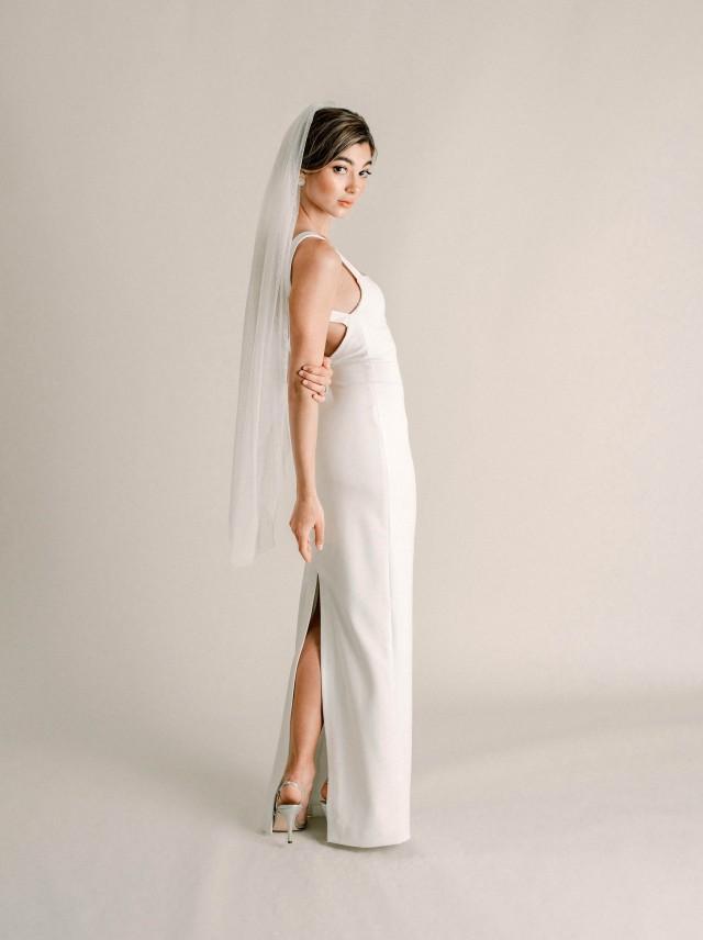 Jamie Veil - Super Soft Tulle Veil, English Netting Fingertip Veil, Single Tier Soft Tulle Wedding Veil, Soft Bridal Veil, 3009