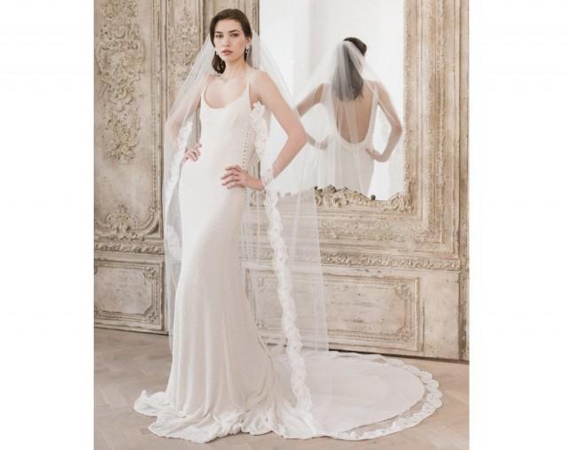 Semi edge Lace Wedding Veil, Lace Veil, Floor length veil, Chapel length veil, Cathedral length, Wedding Dresses, Lace Bridal Veil