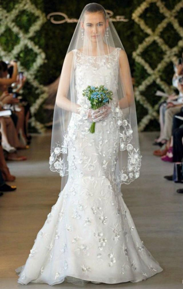 Fingertip Round Embroidered Scalloped Veil /2-Tier or Blusher /Comb