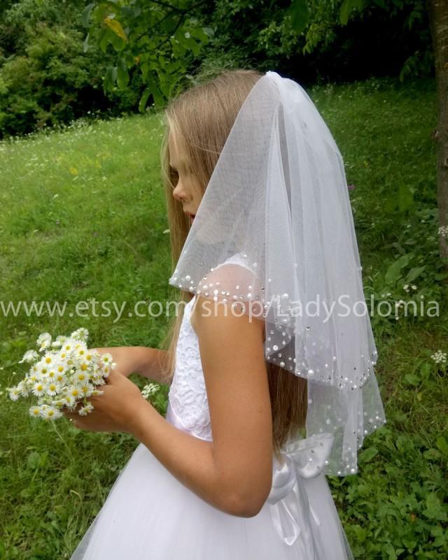 First communion Veil, Holy Communion, Mantilla communion, Little girls veil 2 tier communion veil white girls veil, white Flower girl veils