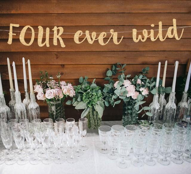 Four ever wild banner 4th birthday banner four birthday banner 4th birthday party decor four gold birthday banner four ever young
