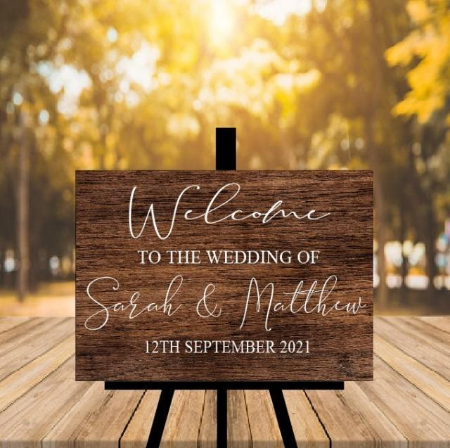 Rustic Wedding Welcome Sign, Wood Rustic Wood Wedding Sign, Welcome Wedding Signs, Personalised Wedding Sign