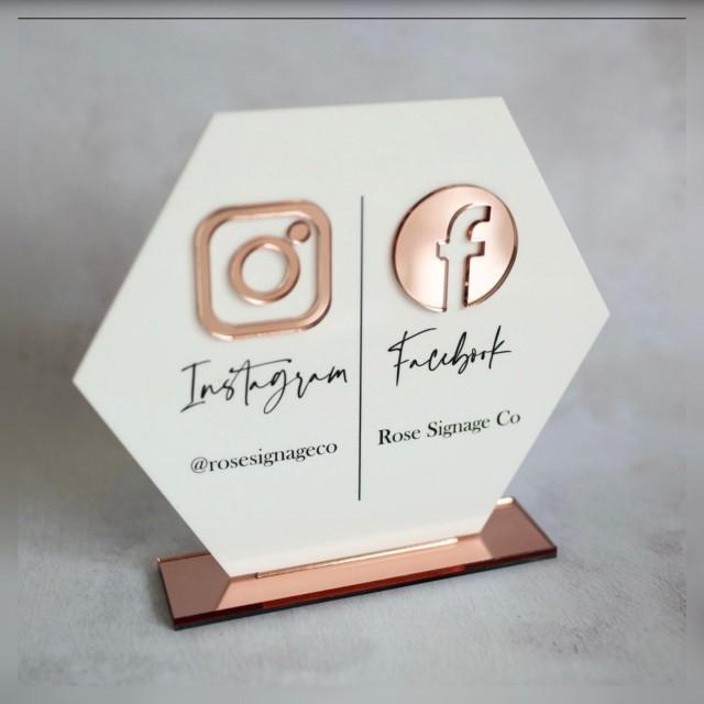 Full Acrylic Duo Social Sign, social media sign, social media signage, business signage, business signs, social sign, salon sign,