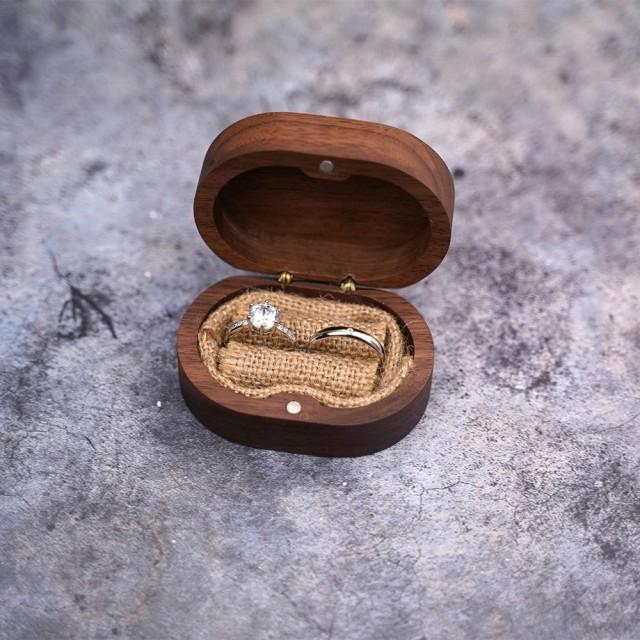 Custom box for walnut wooden wedding ring, wedding box. ON ORDER