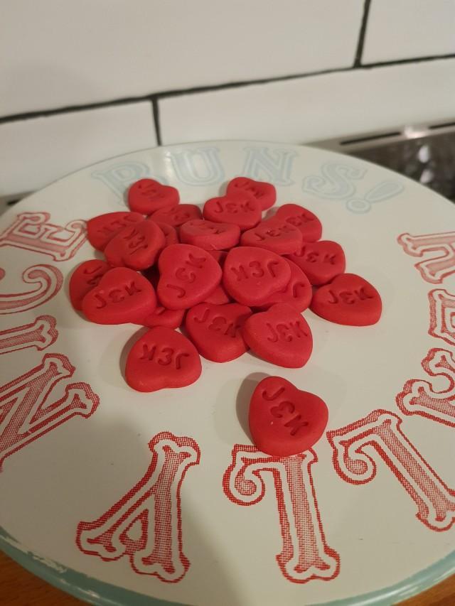 Monogrammed love heart fondant or polymer clay cupcake cake toppers / keepsake