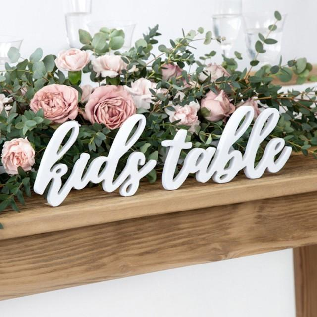 White Wooden Kids Table Sign, Wedding Sign, Wedding Decorations, Kids Wedding Table, Wedding Table Signs, Rustic Table Decor, Wedding Signs