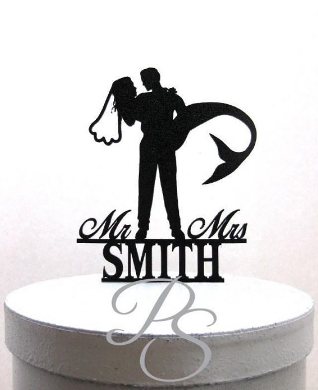 Personalized Wedding Cake Topper - Mermaid Wedding Cake Topper, Mermaid Bride silhouette with Mr & Mrs name