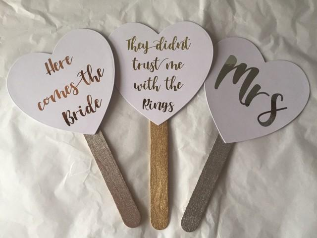 Personalised Foiled Wedding paddles signs fans here comes the bride, Mr & Mrs wedding photo prop, handheld, bridesmaid etc
