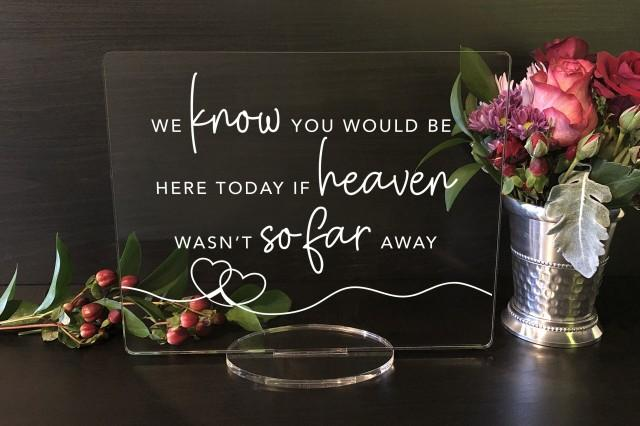We Know You Would Be Here Today, if Heaven Weren't So Far Away, Wedding Acrylic Sign, Acrylic Wedding Sign