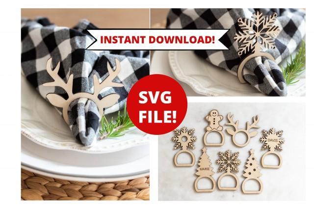 Napkin Ring SVG, Christmas Napkin Ring svg, Napkin Holder svg, Glowforge SVG File, Table Setting svg, Holiday SVG, Christmas svg napkin