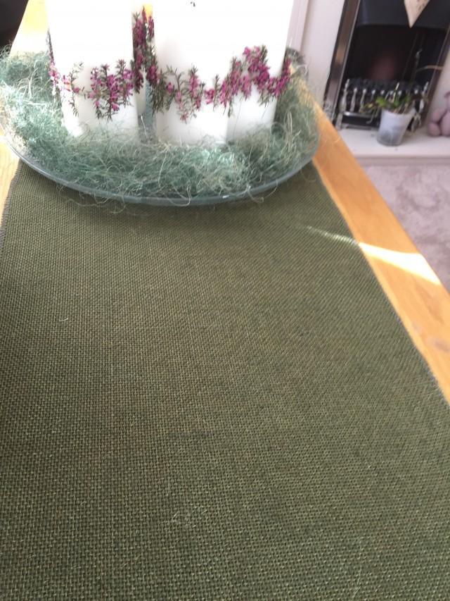 Olive Green Hessian Burlap Table Runner