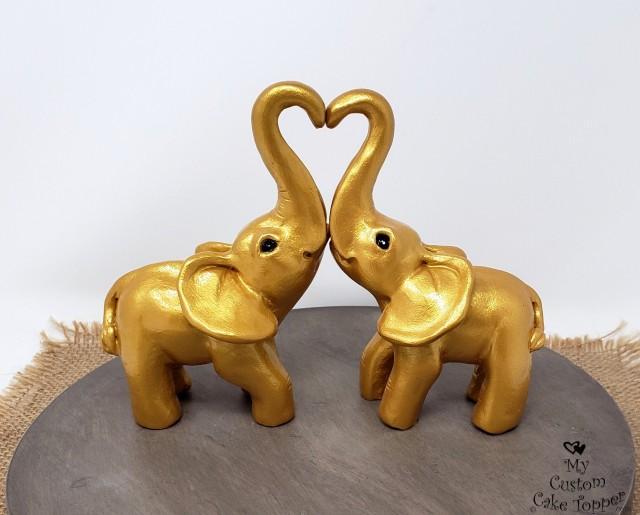 Elephant Love Wedding Cake Topper - Golden Standing forming a heart - East Indian Wedding - Religious Wedding Sculpture