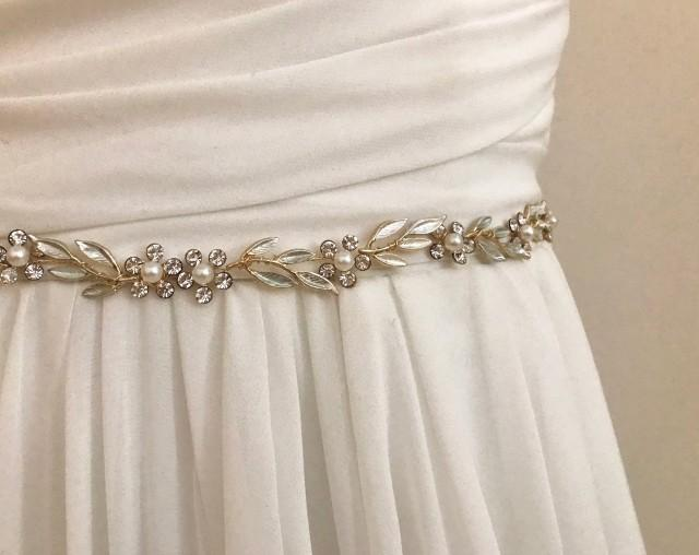 Gold Crystal Pearl Vine Bridal Wedding Sash /  Flower Leaf Bridal Belt / Crystal Leaf Wedding Belt  /  Floral Sash / Necklace Earring Set