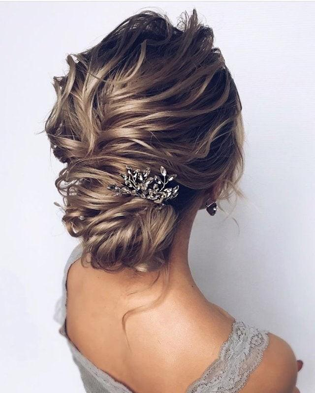 Bridal hair pins Wedding Head piece silver Swarowski Crystal Bridal hair pins pearl Wedding hair pins Bridal hair piece Bridesmaid comb