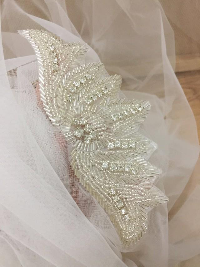 wing rhinestone beaded bridal lace applique, iron on crystal wedding sash applique