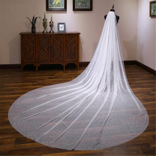 Bling Bling Bridal Veil Long Wedding Veil Sparkling Bridal Veil White Bridal Veil Cathedral Wedding Veil Glitter Wedding Accessories
