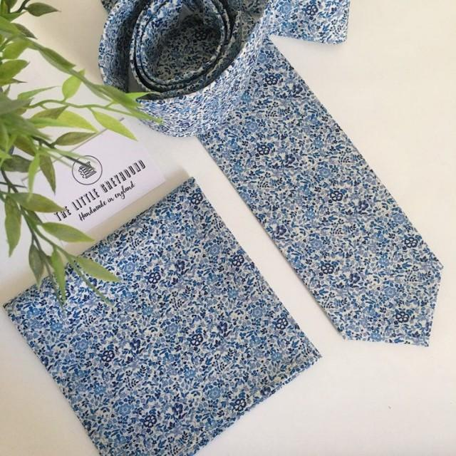 "Liberty of London Bespoke Men's Necktie. ""Katie and Millie"" Blue Made to Order Skinny / Slim / Regular Cut - Wedding Tie & Pocket Square."