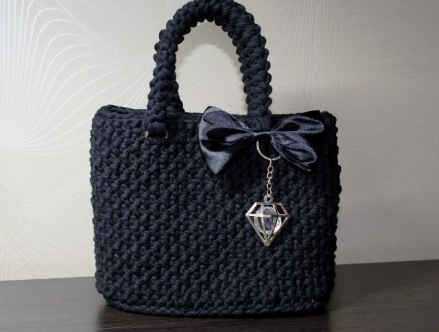 Handmade Bag for Women Knitted bag Handmade bag Woman gift Crochet bag Exclusive bag Black bag Mother's Day Christmas Birthday Party bag