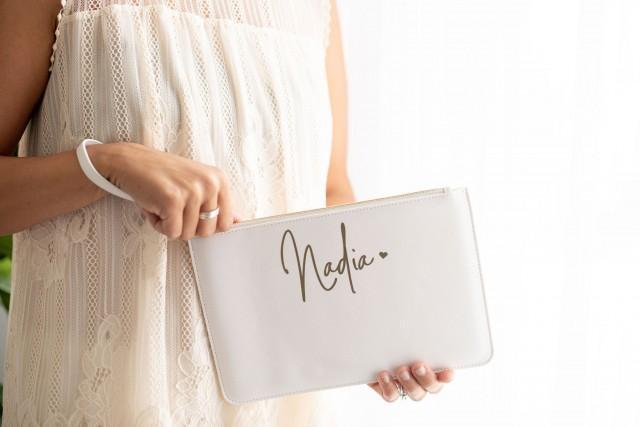 White clutch bag personalised clutch clutch bag clutch purse bridesmaid bag