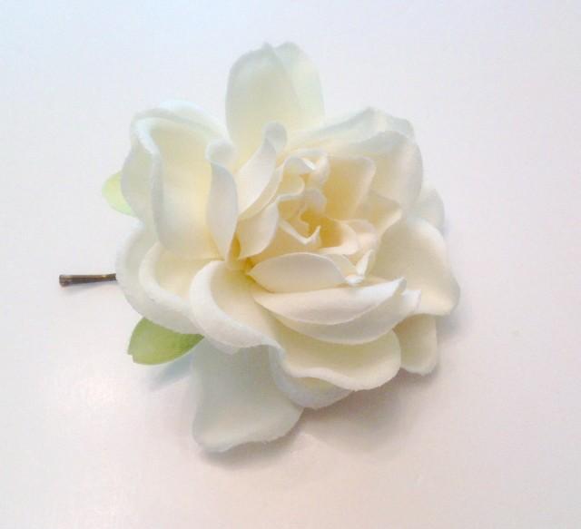 White Gardenia  Bridal Flower Hair Pin Wedding Hair Accessory Hair Pin Bridal Hair Pin White Gardenia Prom  Hair Pin - Ready  to Ship!