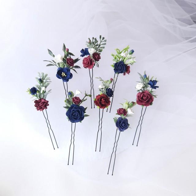 Bridal Hair Piece Burgundy, Floral hair Pins, Set of Hair Pins, Burgundy Navy Blue and White Hair Flowers, Burgundy Hair Flowers