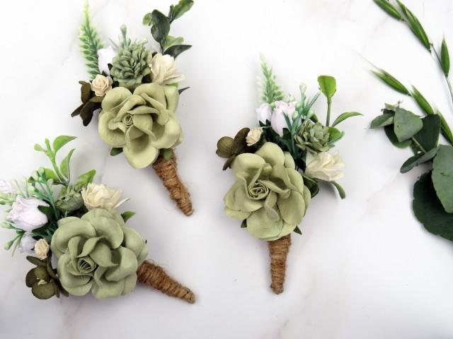 Wedding Boutonniere, Sage Green Boutonniere, Rustic Button Hole