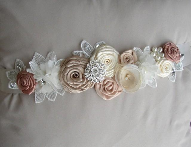Wedding Dress Sash, Ivory Champagne Bridal Sash, Vintage Style Floral Belt, Pearl Rhinestones Sash, Wedding Belts Sashes, Blush Dress Sash