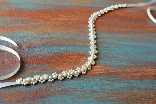 Pearl Belt For Wedding Dress, Bridal Sash Belt, Wedding Belt, Thin Bridal Belt, Bridesmaid Belt,  Wedding Accessories For Bride, Pearl  Sash