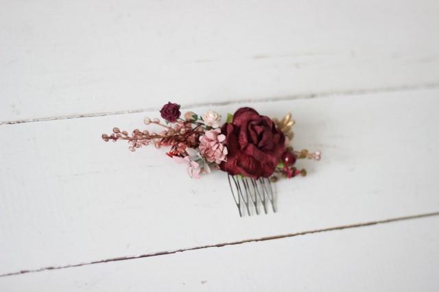 Burgundy gold comb Dusty rose Floral headpiece Bridal comb Flower accessories Bridesmaid Vine  Wedding hair piece Outdoor wedding