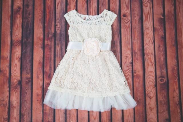 Ivory Lace Flower Girl Dress, Cream Tulle Wedding Gown, Barn Wedding, Rustic Wedding Decor