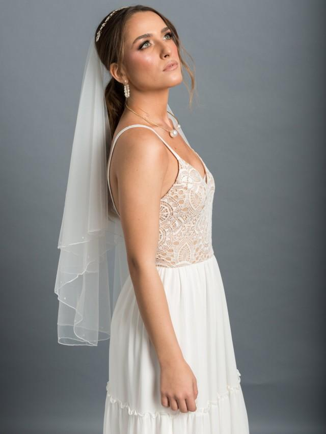 Soft 2 layers Drop bridal Veil with pearls, Wedding veil with a delicate pencil-style and pearls edge, Soft pearl Bridal Veil