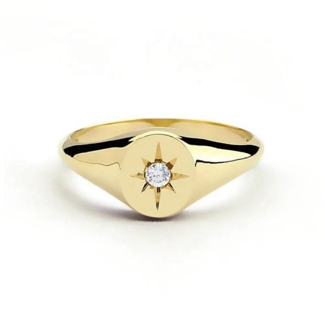 Minimalist North Star Diamond Engraved Ring Solid 22K Gold Filled Sz 6-10 FREE & FAST SHIPPING Stunning Gift