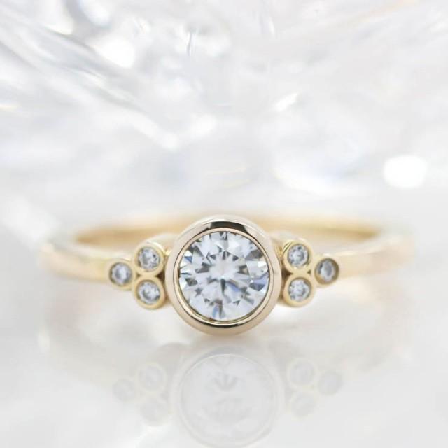 Bezel Set Diamond Setting Moissanite Center Engagement Ring - Audrey