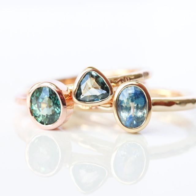 Teal sapphire ring, bicolor sapphire engagement, 14k rose gold, parti sapphire, mermaid, modern bride, September birthstone - Delphine