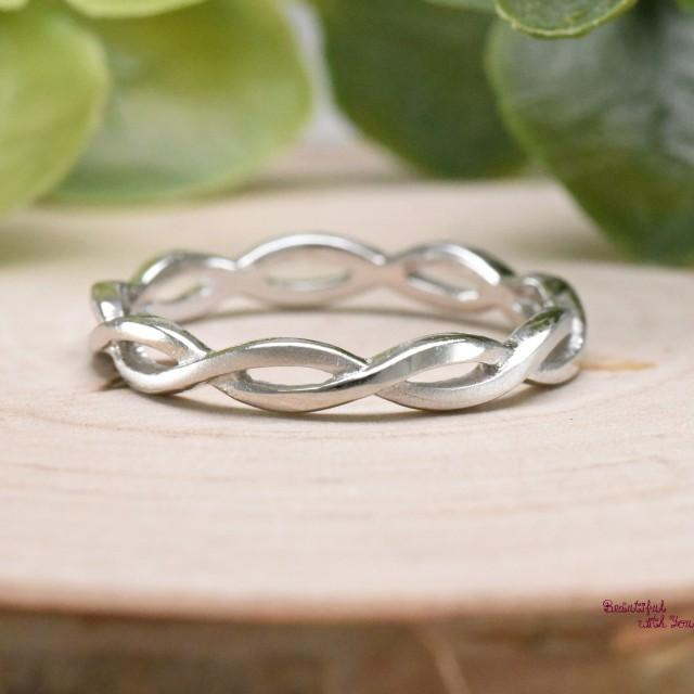 Infinity Eternity Band, Celtic Knot Eternity Ring, Briaded Knot Eternity Band Silver, Womens Unique Ring, Unique Ring, Womens Everyday Ring